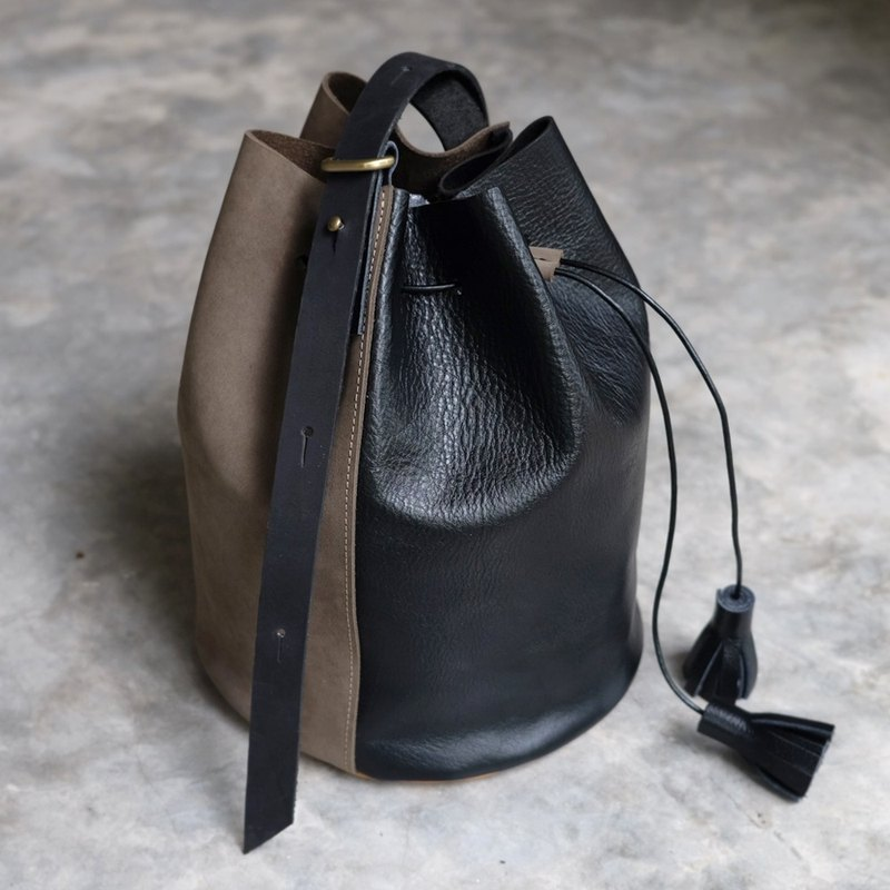 Mini Olive Green and Black Leather Bucket Bag
