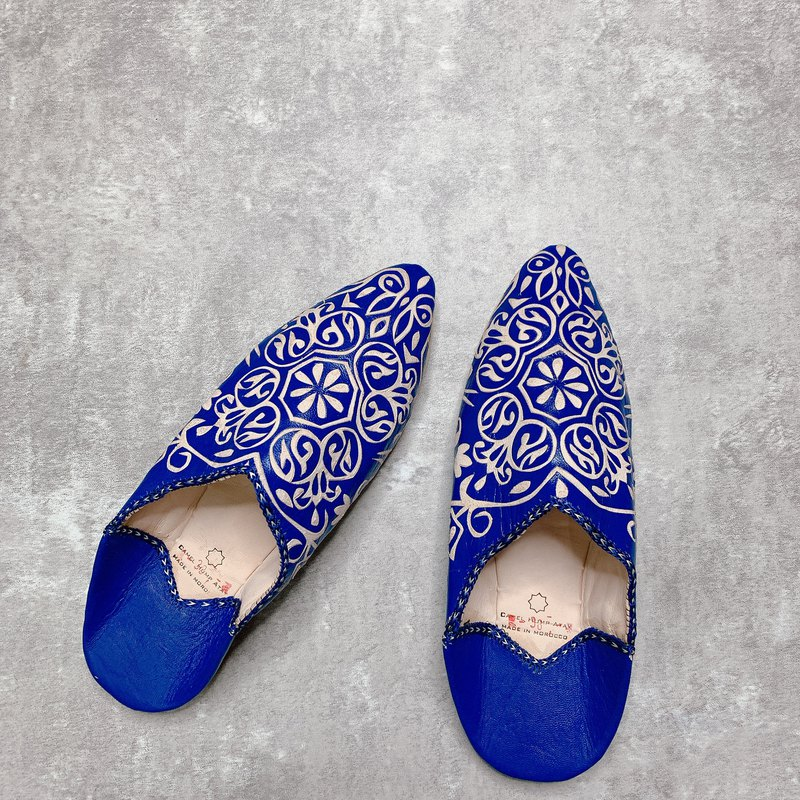 Morocco balgha leather carved handmade shoes blue stomp shoes indoor shoes