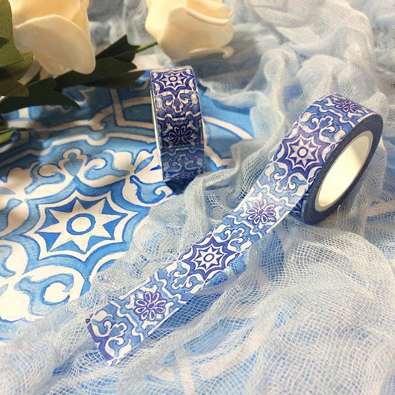 SCKCART 手繪優雅水彩青花花紋圖案 和紙 紙膠帶