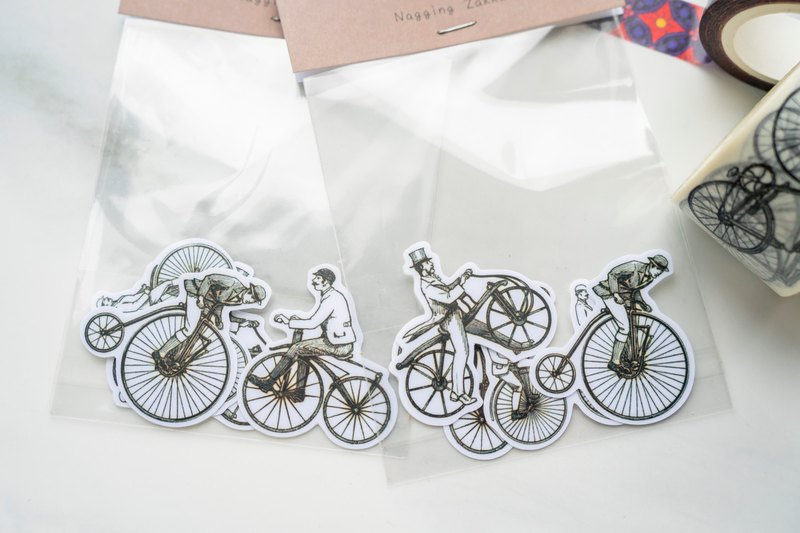 Copper plate stickers - four sets of retro bicycles