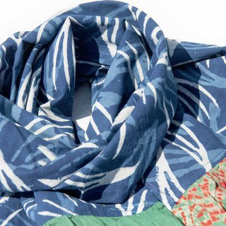 Blue dyed silk scarf / batik tie dyed silk scarf / plant dyed scarf / indigo gradient cotton scarf - blue leaves