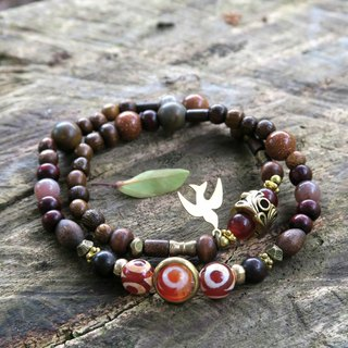 [Spiritual • Small hand-made] Sky Eye Agate Sandstone Wooden beads Brass Bird Neutral Men and women Bracelets Gift
