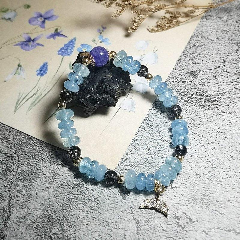 海藍寶疊珠 黑髮晶 丹泉石 設計手鍊
