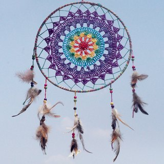 Handmade limited edition Valentine's Day gift Mother's Day gift birthday gift ethnic style boho hand-woven cotton land dream catcher strap Dream Cather / handmade lace Dream Catcher - lace rainbow color 28cm