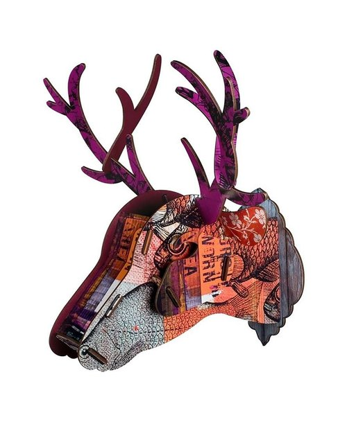 SUSS-Italian MIHO Wooden deer head texture Home Decor / Mural - Large size (Cervo-7) - New Home / Decor / Present / Birthday - Free Shipping