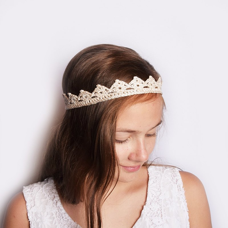 Champagne Golden Princess Crown Headband