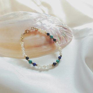 No beam _ meticulous pearl natural stone brass bracelet