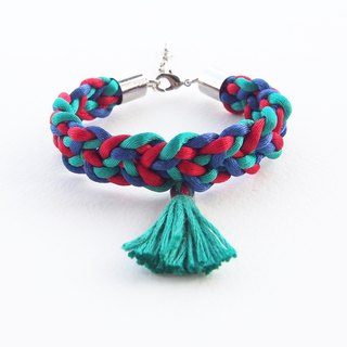 Greem-blue-red braided bracelet with green tassel