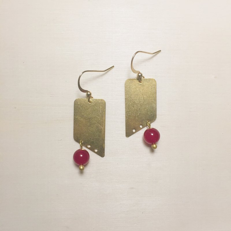 Red jade geometric earrings