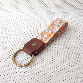 Orange Blooming Flower,Personalized Fabric Fob Leather Key Chain,Custom Keychain,Stamped Gift For Her