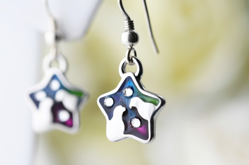 珐琅 Painted series love star-shaped hook earrings Aurora stars (ERIJA0809E-1)