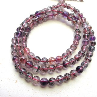 "Onion-bulb hand-made natural stone series - ""color powder round"" 5.5mm-three round backbone crystal (three ring bracelet)"