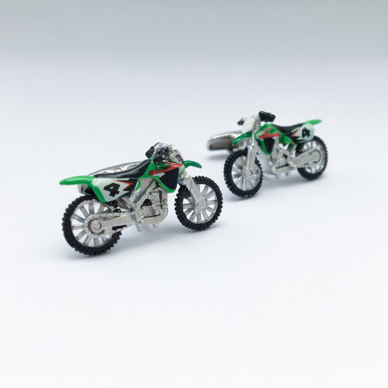 Motorcycle Motorcycle Cufflinks (Green/Yellow) HAND PAINTED MOTOBIKE CUFFLINKS