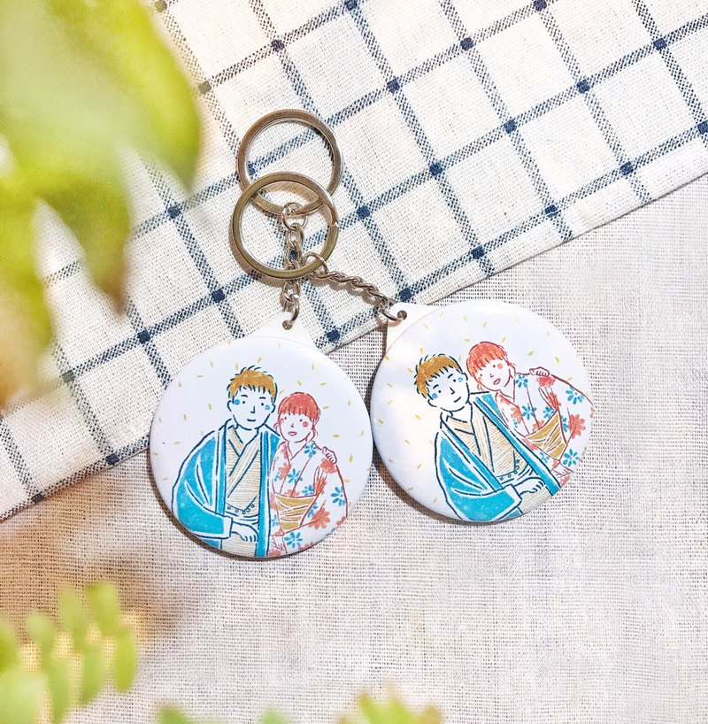 Exclusive-Japanese-style hand-painted wind-customized portrait like painted key ring / pendant