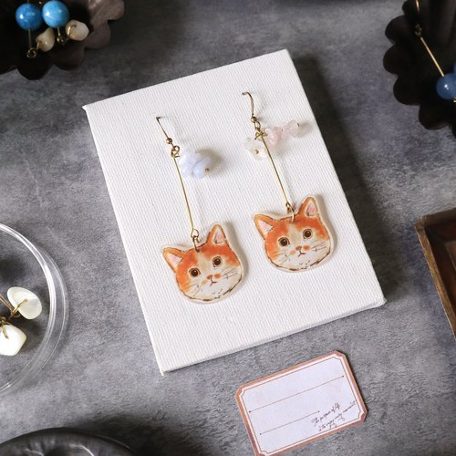 Cat handmade earrings - orange cat blue agate powder crystal white crystal can be clipped