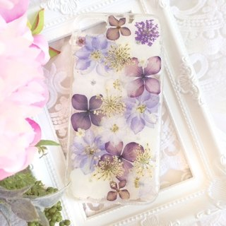 Pressed flower phone case - Purple Lover for iPhone, Samsung & HTC