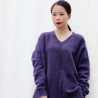 [spot] deep purple V-neck wool sweater