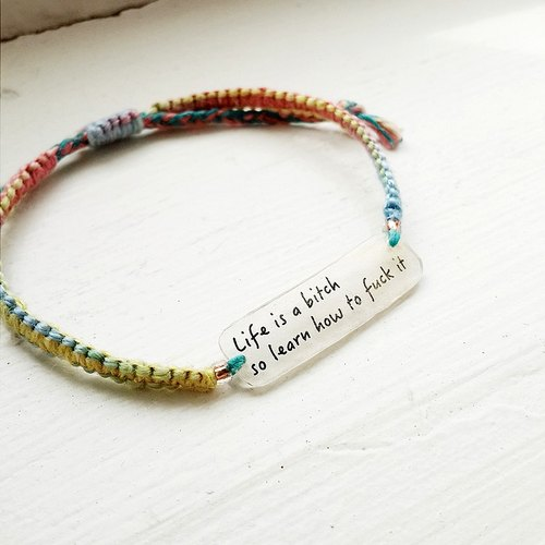 momolico rainbow rope woven bracelet micro text Wen Qing word to save the world