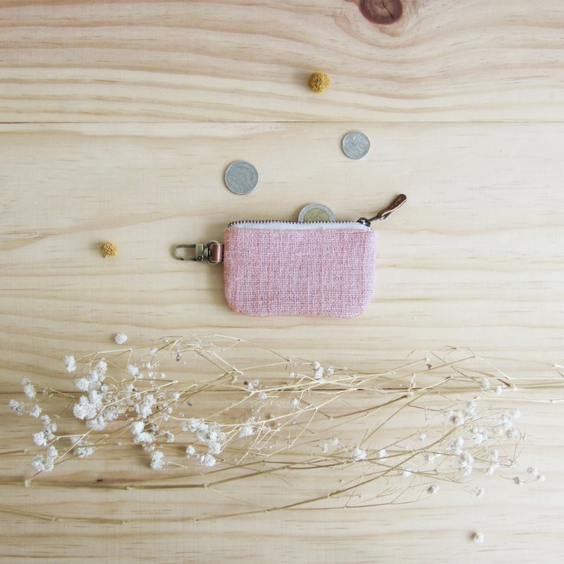 Little Coin Purses Hand Woven and Botanical Dyed Cotton Pink Color