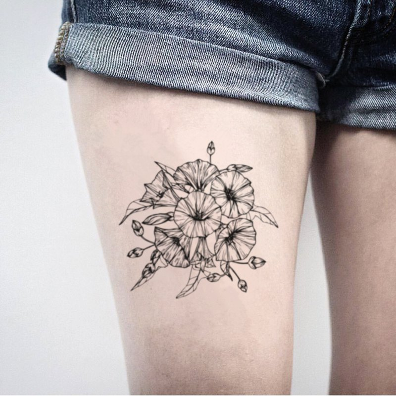 Morning Glory Flower Bouquet Temporary Tattoo Sticker (Set of 2) - OhMyTat
