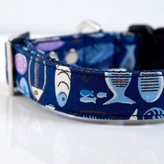 Swimming fish-kun medium dog collar silver