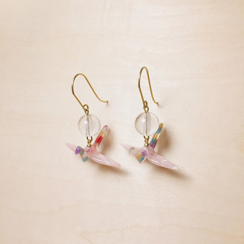 Vintage sandwich ball pink paper crane earrings