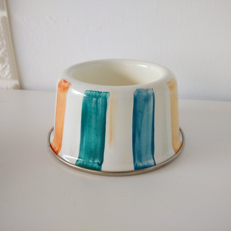 Color stripe painting pet bowl (mini size)
