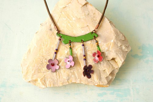 Lilac Flower, Enamel Necklace, Flower, Floral Necklace, Lilac Blossom