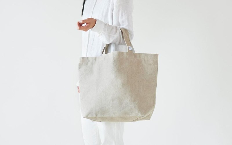 Linen canvas tote bag M size