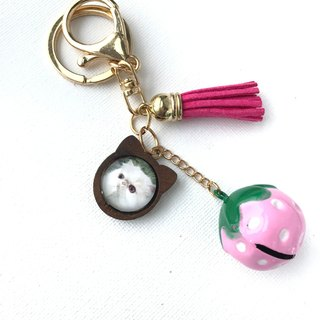 Kiki Cat - shaped Wooden Persian Cat Tassel Strawberry Bell Keychain