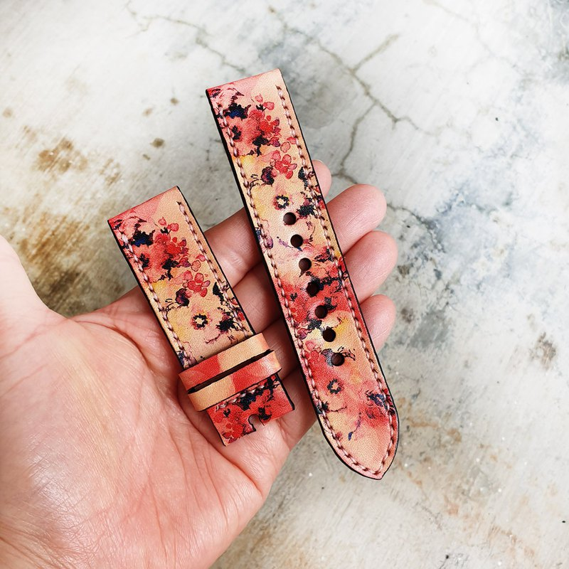 Leather Watch Straps 22mm,24mm, Hand-Stitched Handmade