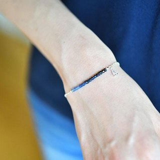 Blue Sapphire bracelet enhancing charisma, victory luck, money luck, etc. September birthstone silver version