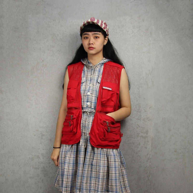 Tsubasa.Y ancient house 012 red mesh fishing vest, fisherman mesh vest, both men and women can wear