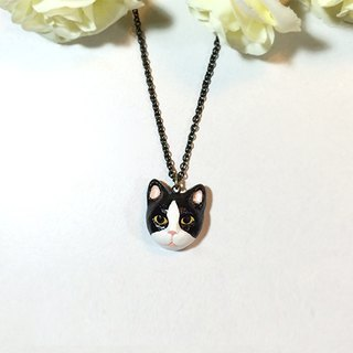 Tuxedo Cat necklace, Black Cat necklace, Black cat pendant, Tuxedo Cat pendant