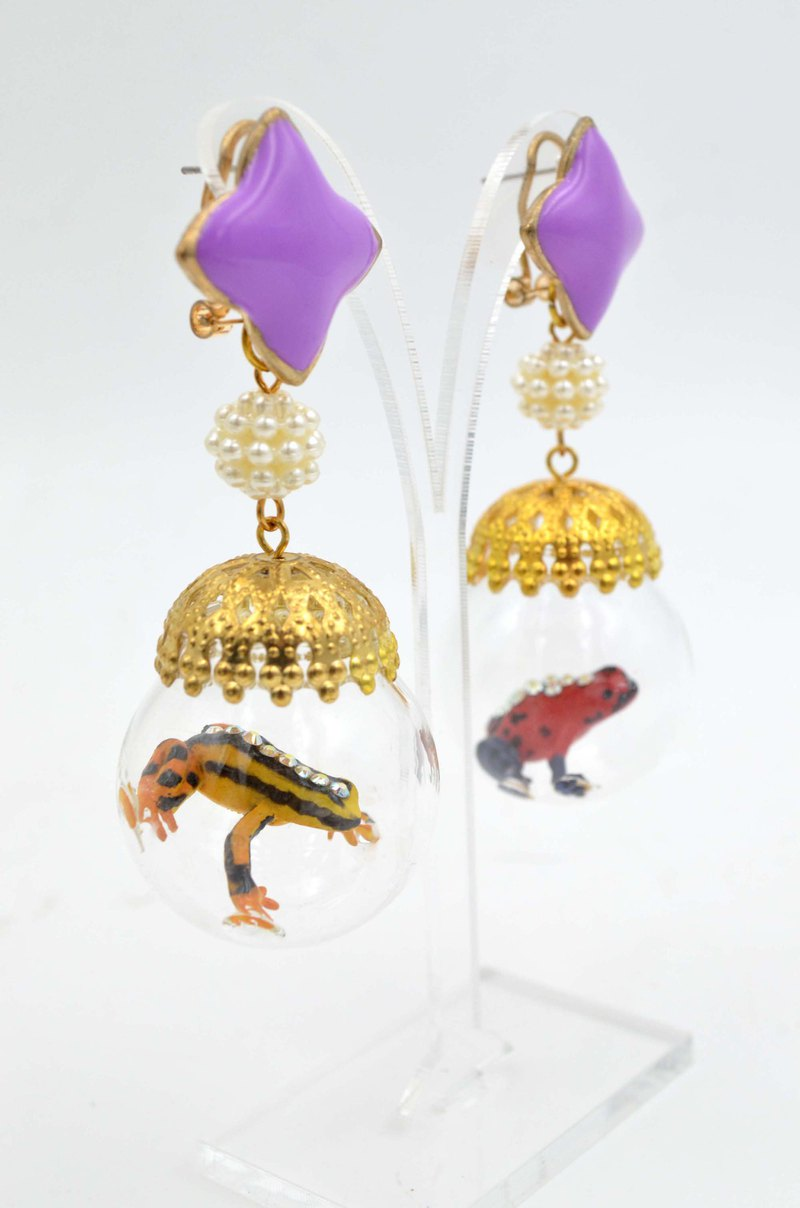 TIMBEE LO Frog Glass Ball Greenhouse Earrings