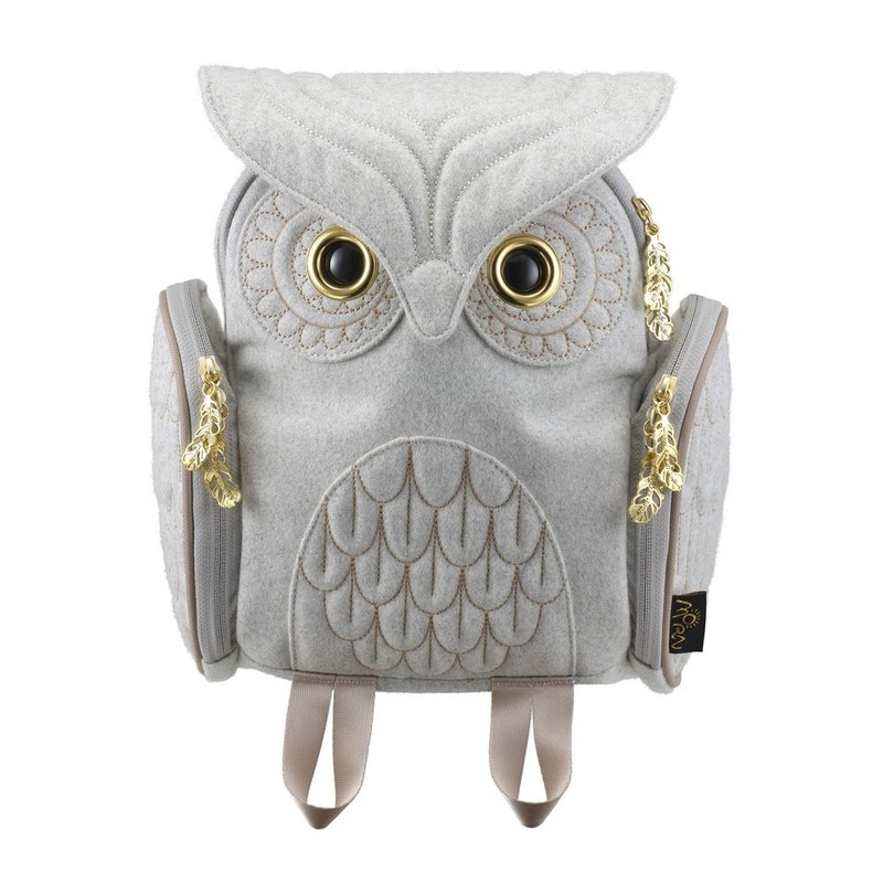 Morn Creations Genuine Classic Owl Backpack S - Light Gray (OW-326)