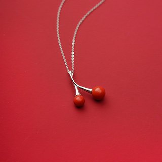 Cinnabar cherry, natural s925 sterling silver ore powder, crushing evil transport, this year, female necklace, too old