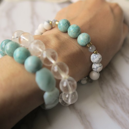 Qinghe 【Spiritual · Small Hand-made】 Tianhe Stone. White Turquoise. Labradorite (Grey Moonstone). Turquoise. Brass. Unisex Neutral Unicycle Bracelet Gift
