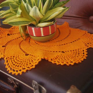 60s orange crochet table cloth