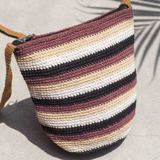 Graduation Gifts Birthday Gifts Chinese Valentines Day Gifts Natural Cotton Crocheted Messenger Bags / Wayuu Backpacks / Side Backpacks / Shoulder Bags / Travel Bags / Hand Knitted Bags / Hand Knit Bags-Vanilla Latte Iridescent Stripes