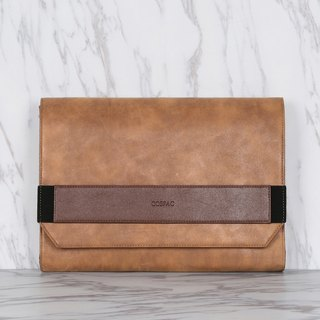 Light Brown Color Two-Tone PU Faux Leather Large Envelope Clutch
