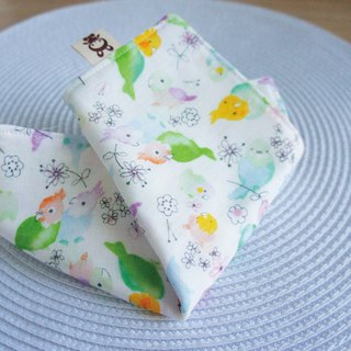 Lovely [Japan double yarn custom] color parrot handkerchief, hand towel, saliva towel [purple green]