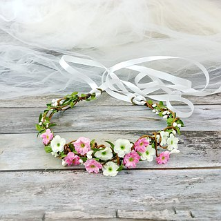 Flower crown, Rustic wedding crown, pink rose wreath, hair accessories C18