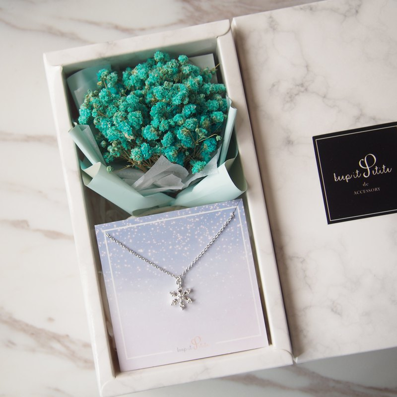 Teal Dry Starry Bouquet + Small Snowflake Necklace Gift Set