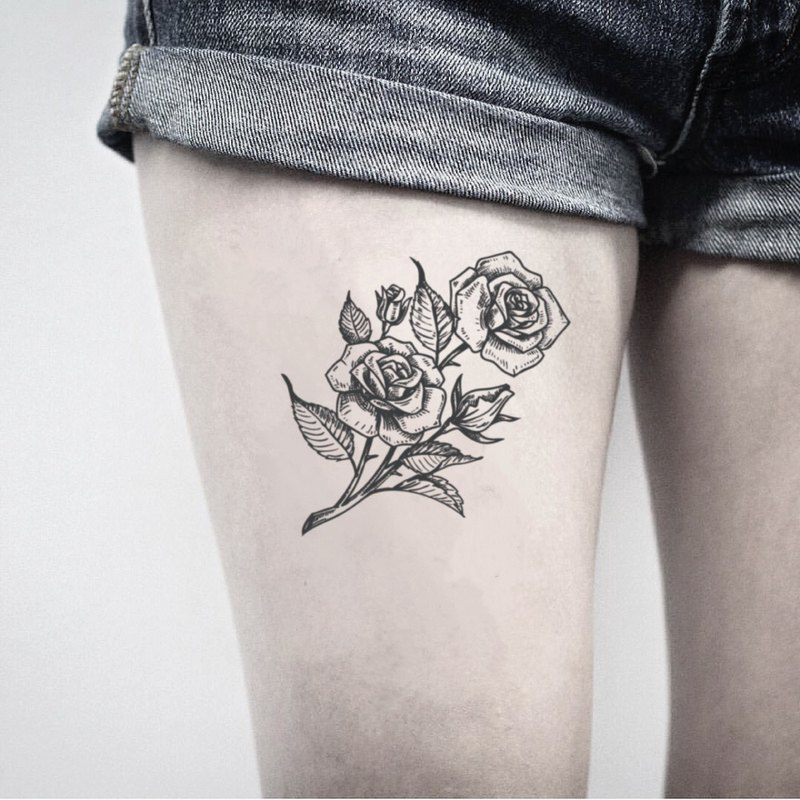 Rose Temporary Tattoo | Flower Fake Tattoo Sticker | Thigh Stick On Tattoo