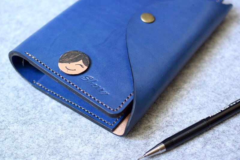 YOURS handmade leather leather loose-leaf notebook paper money bags arcuate cover + Upgraded A6-Size Blue Leather