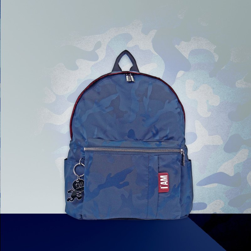 Free shipping I AM-M blue camouflage backpack