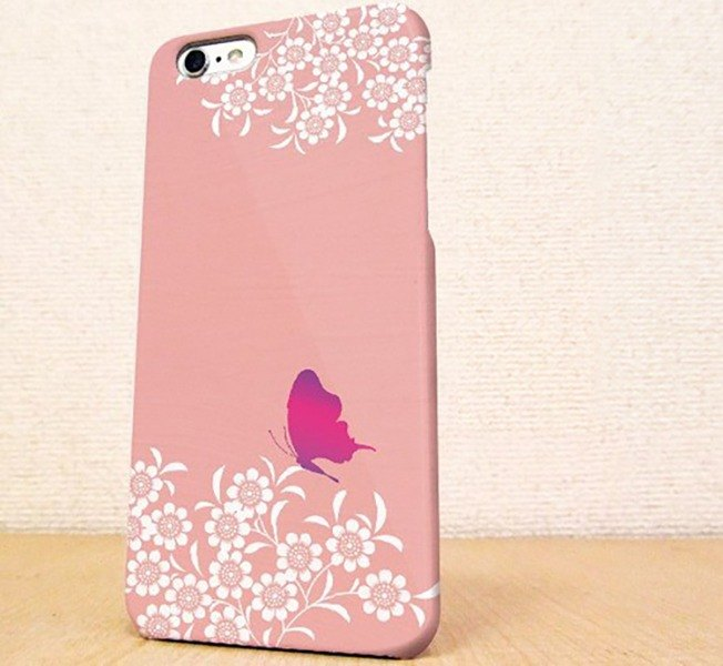 Free shipping ☆ pink flower garden and butterfly Sumahokesu