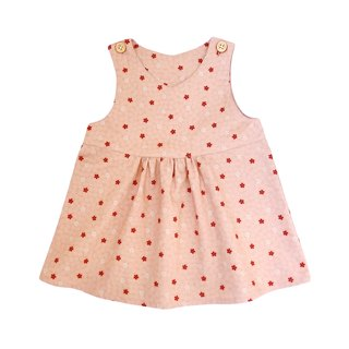 Little Girls  Peach Cherry Blossom V-Neck Sleeveless Jumpsuit Dress - 100% Cotton - Handmade Children's Clothes