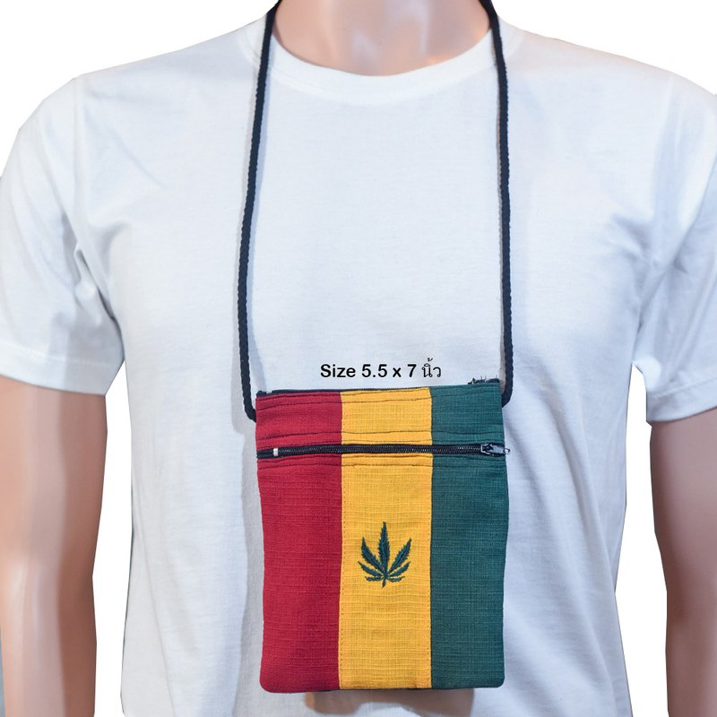 Rasta neck bag with hemp leaf pattern